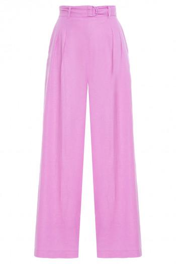 Calça Linho Pantalona Com Cinto