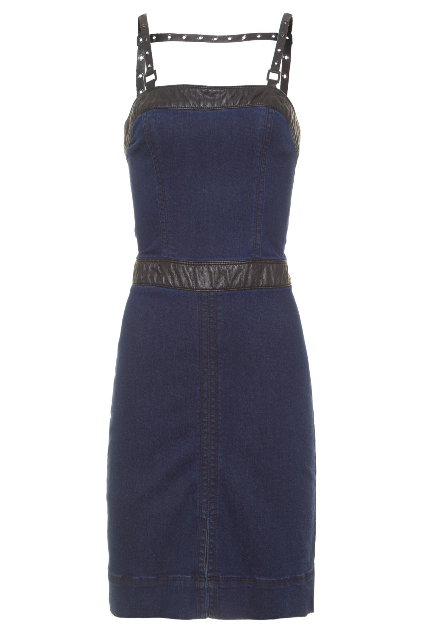 Vestido Jeans Midi Detalhe - Azul