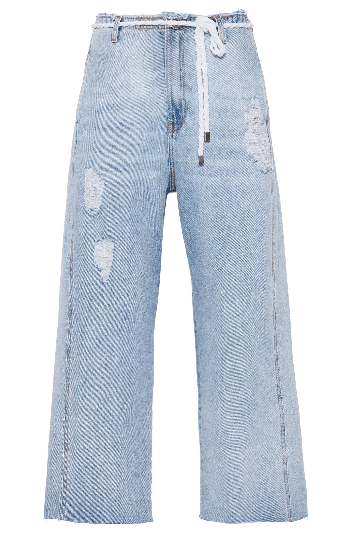 Calca Jeans Cropped Com Cinto De Cordao