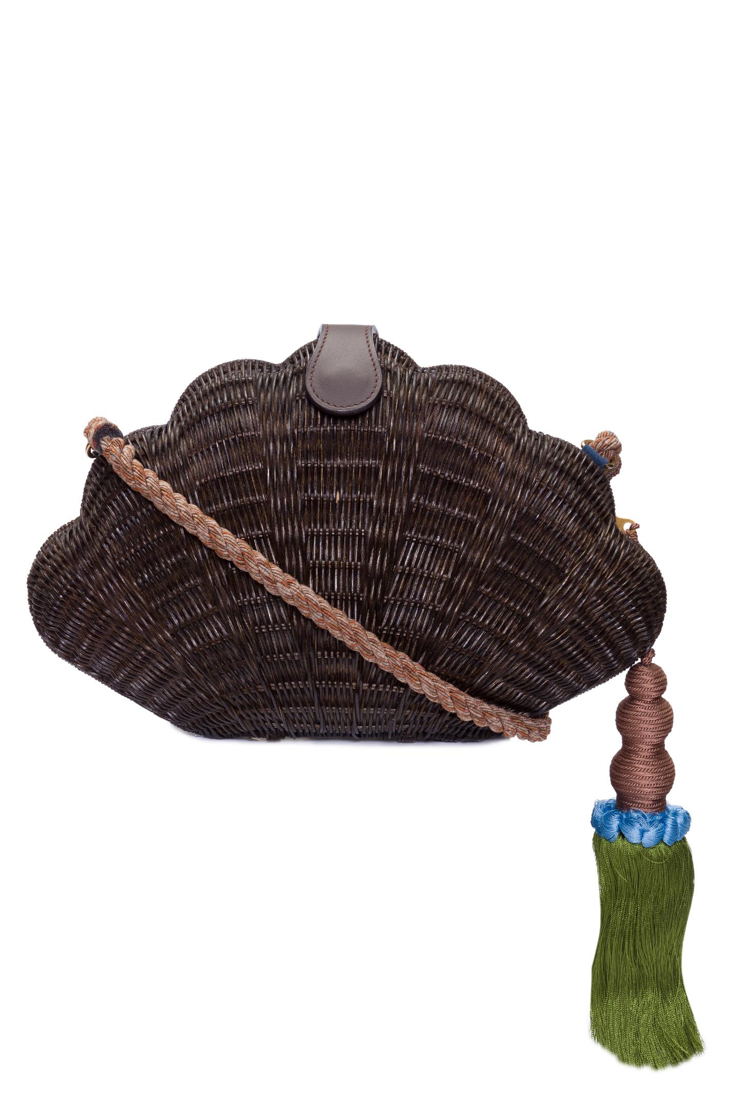 Bolsa Concha Palha Com Tassel