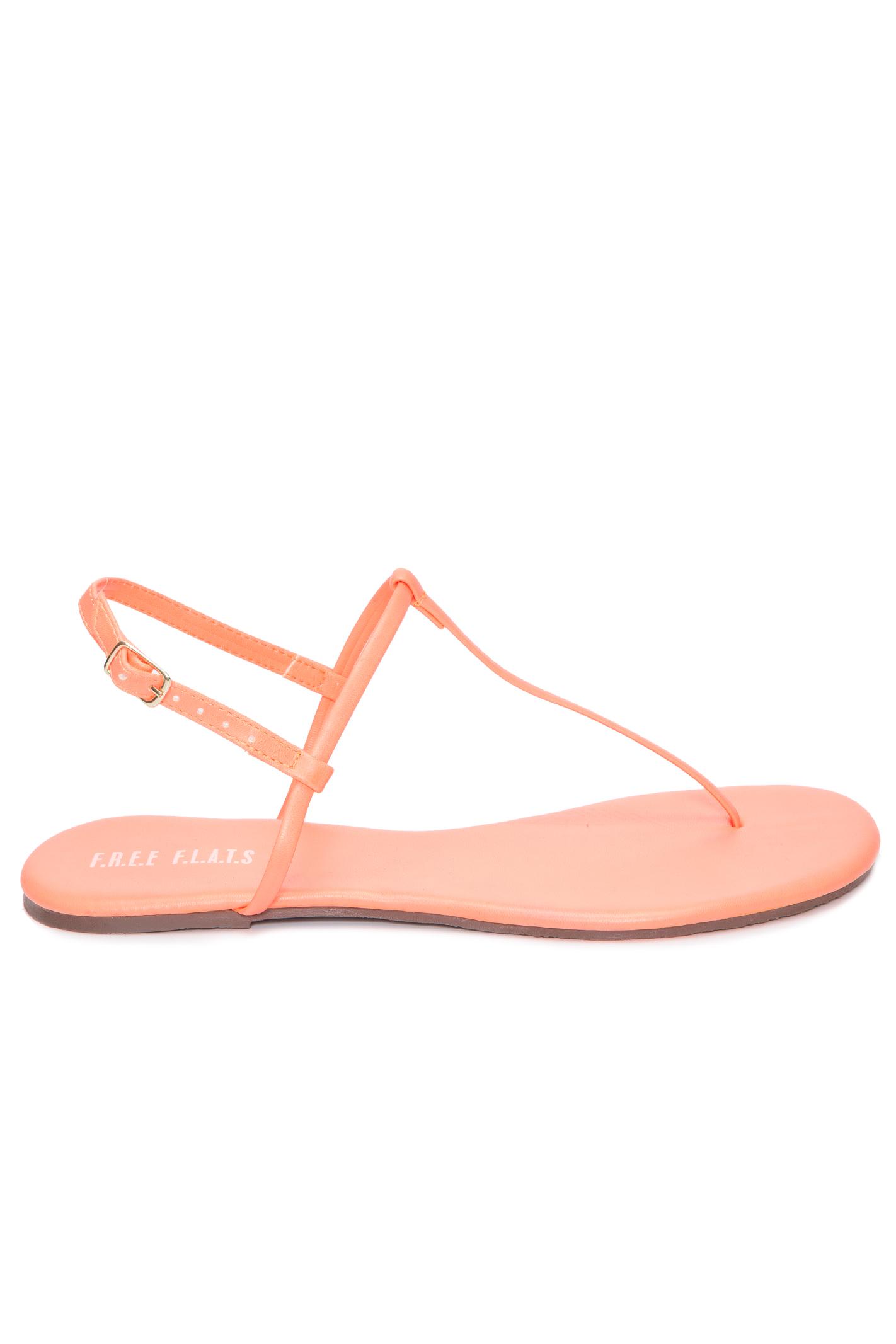 Sandália Rasteira T-Strap Neon Coral