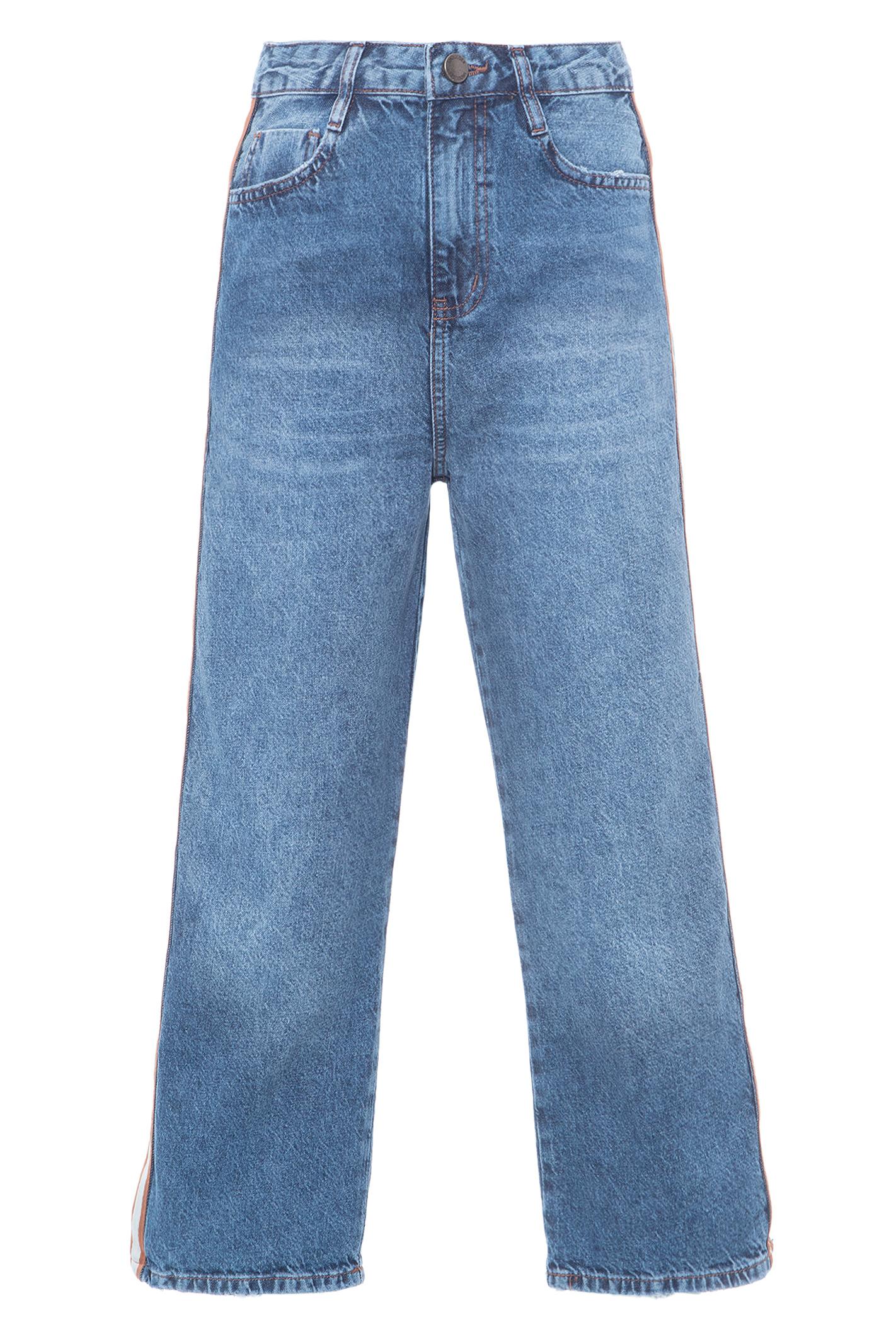 Calca Jeans Cropped Faixa Lateral