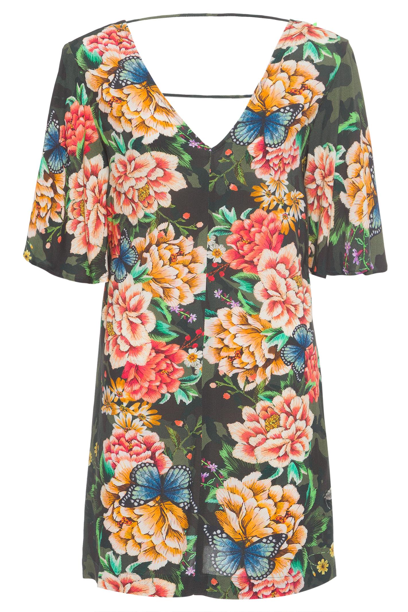 Vestido Curto Floral Camuflado