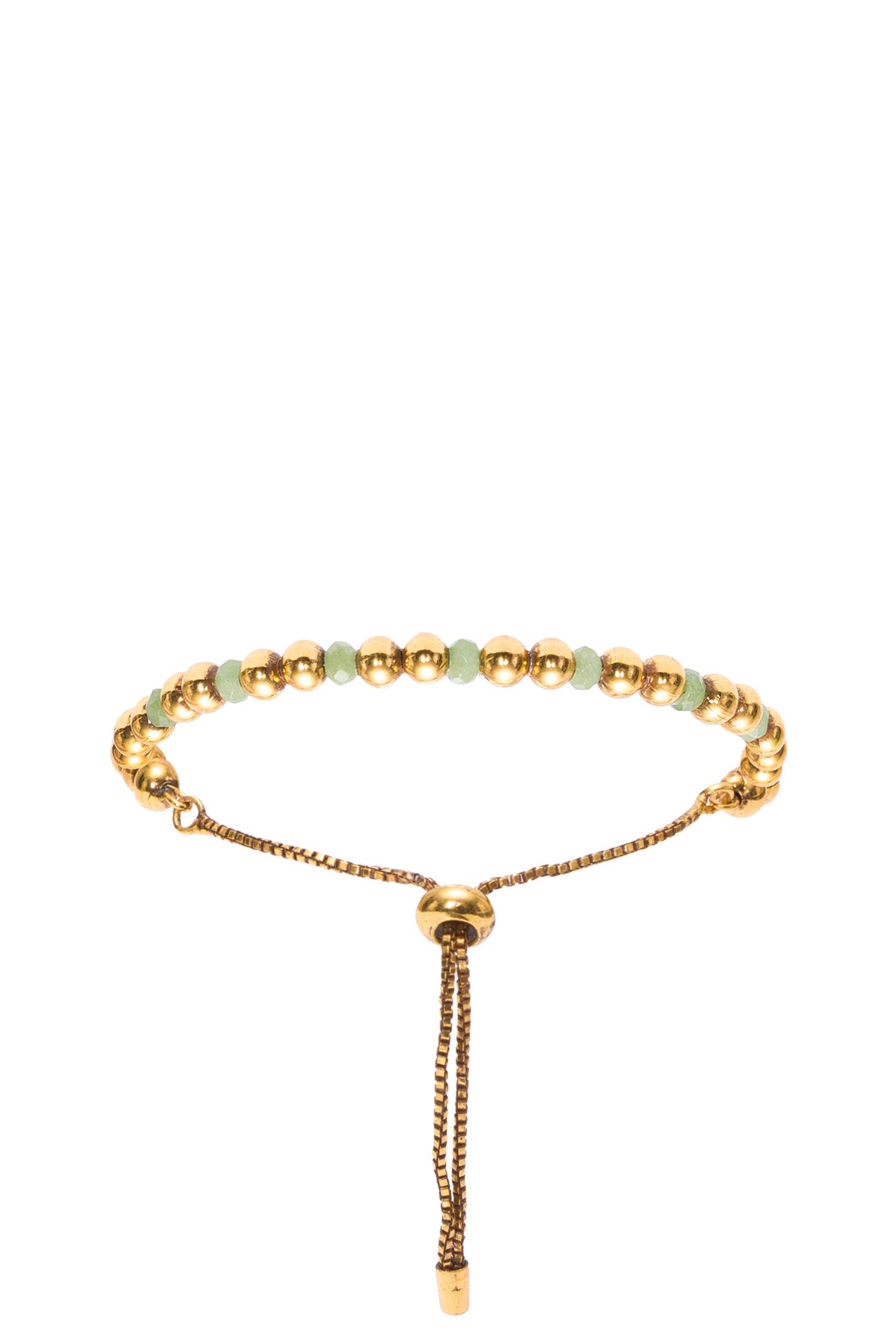 Pulseira Esferas Verdes - Ouro Vintage