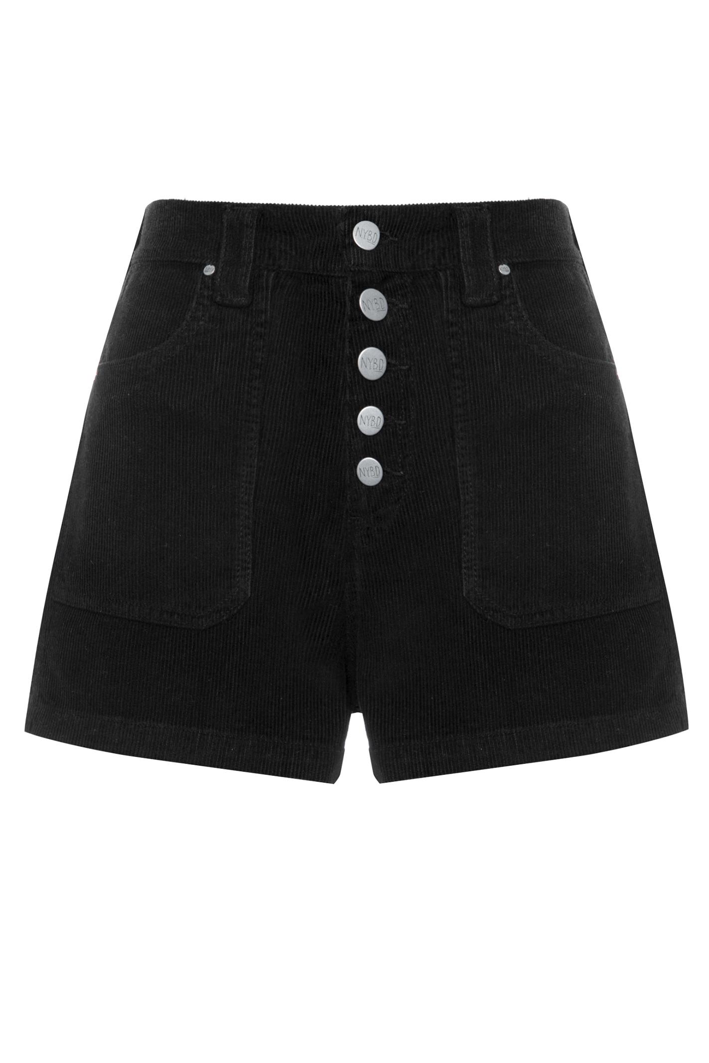 Shorts 5 Botões Veludo Preto