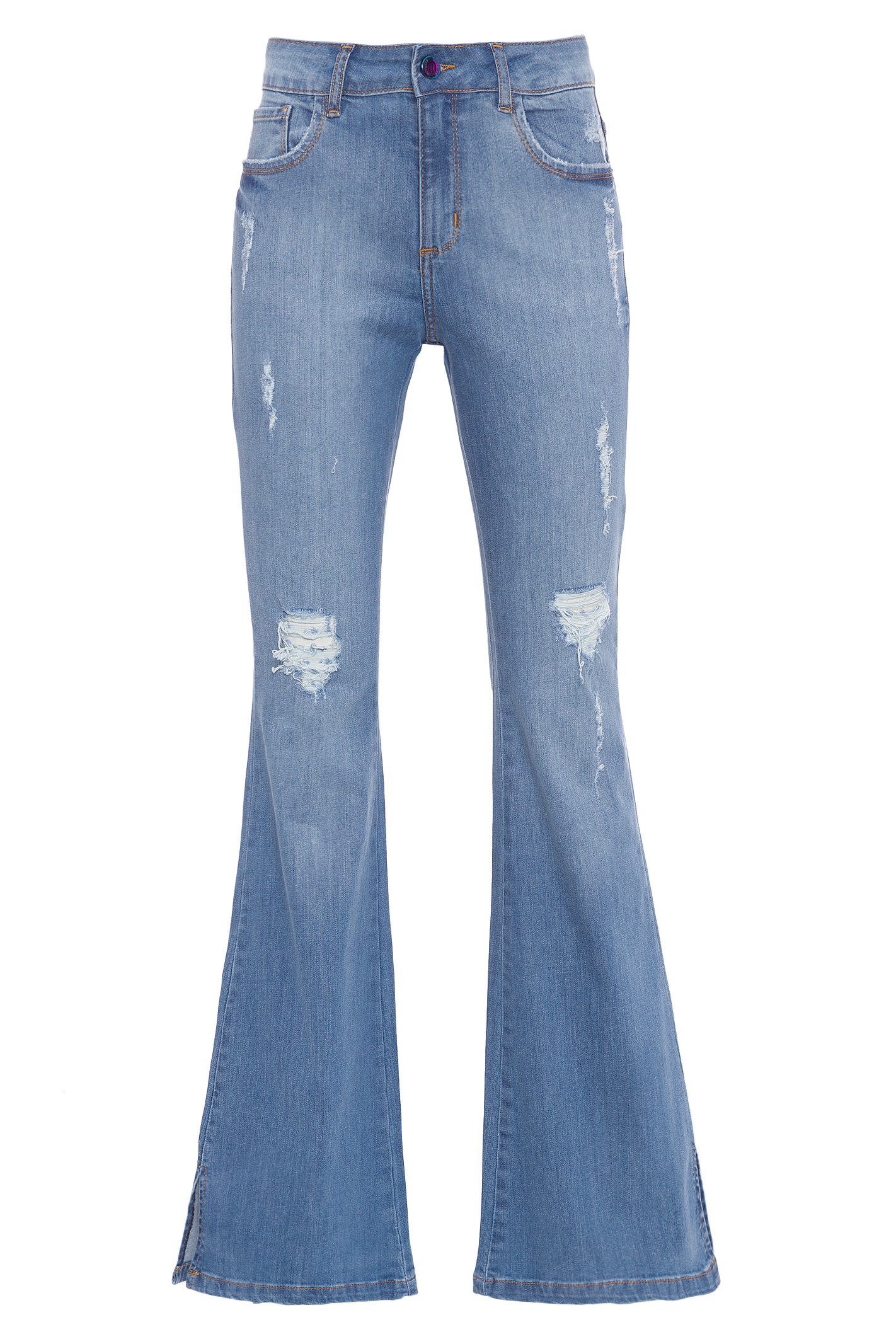 Calca Jeans Flare Fenda Barra