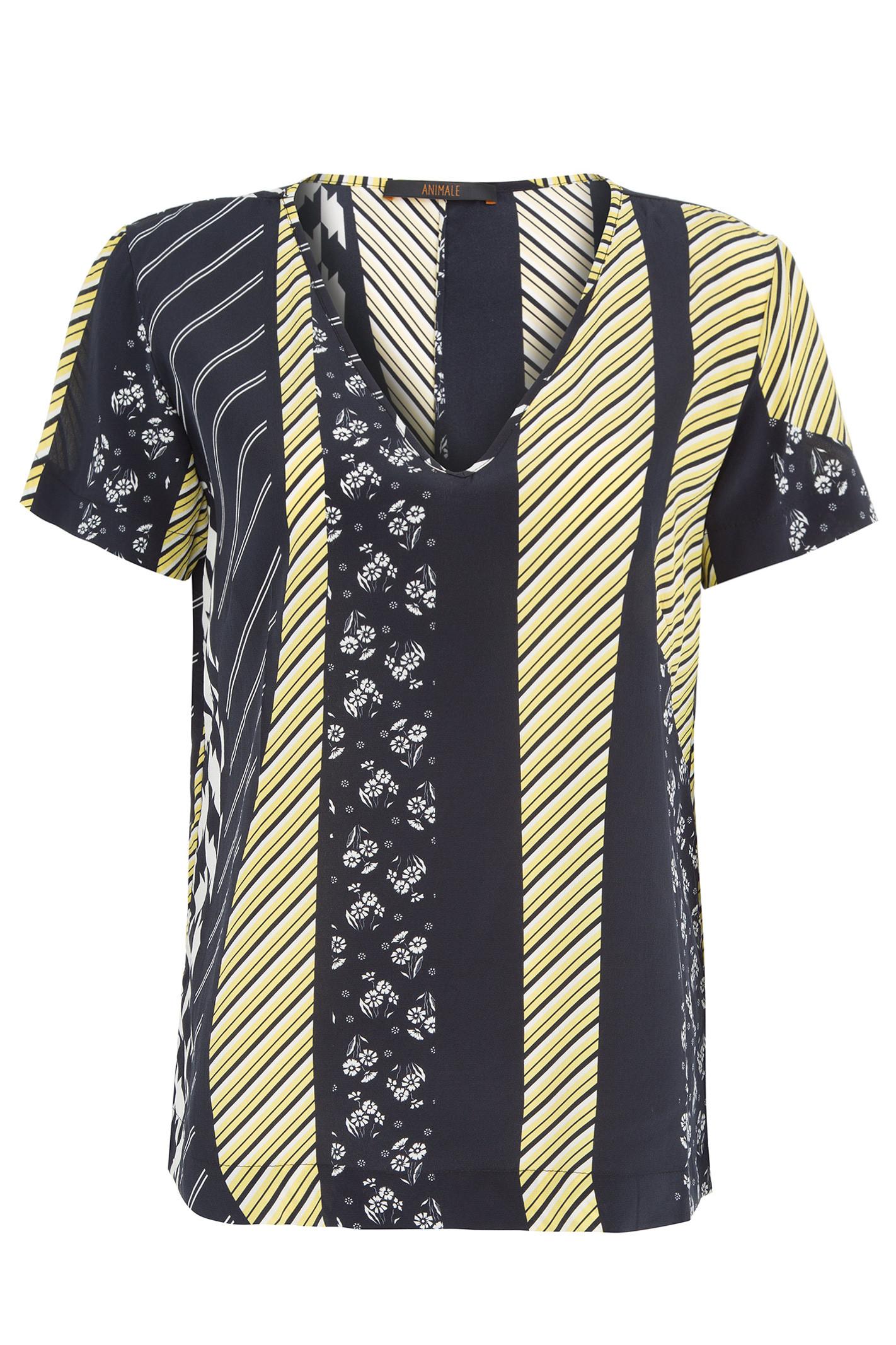 T-Shirt Decote V - Amarelo