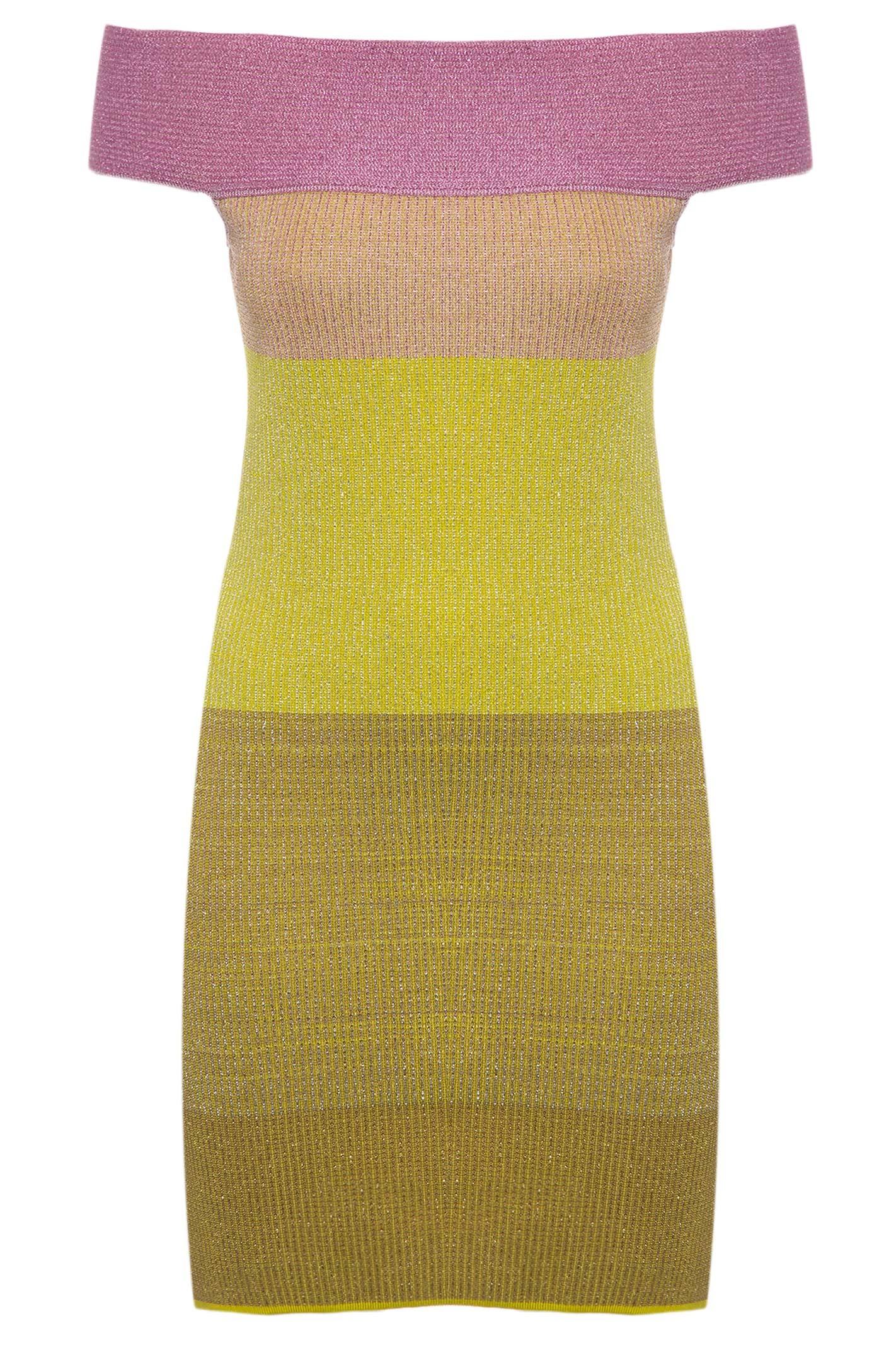 Vestido Ombro A Ombro Lurex - Amarelo
