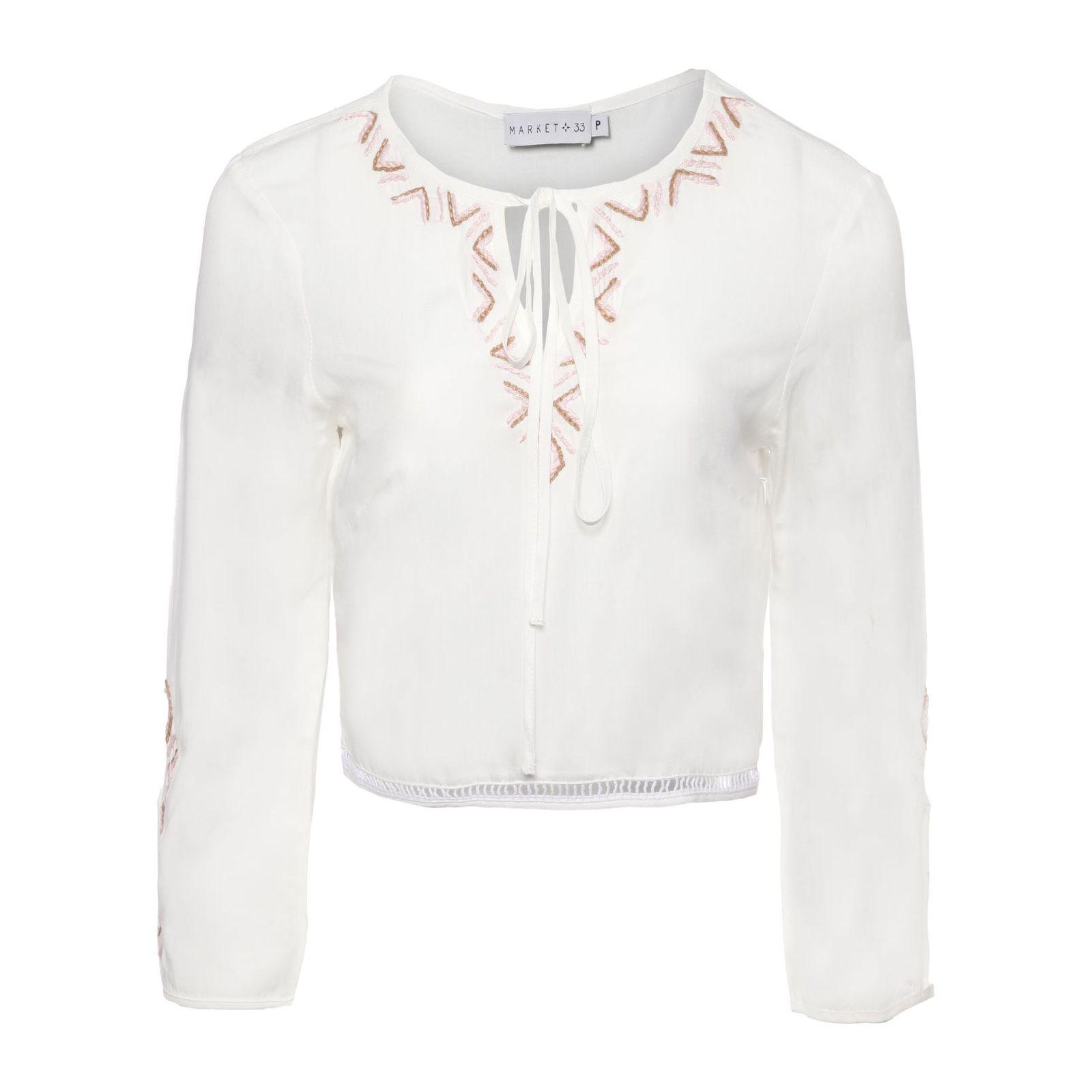 Blusa Cropped Bordada - Off White