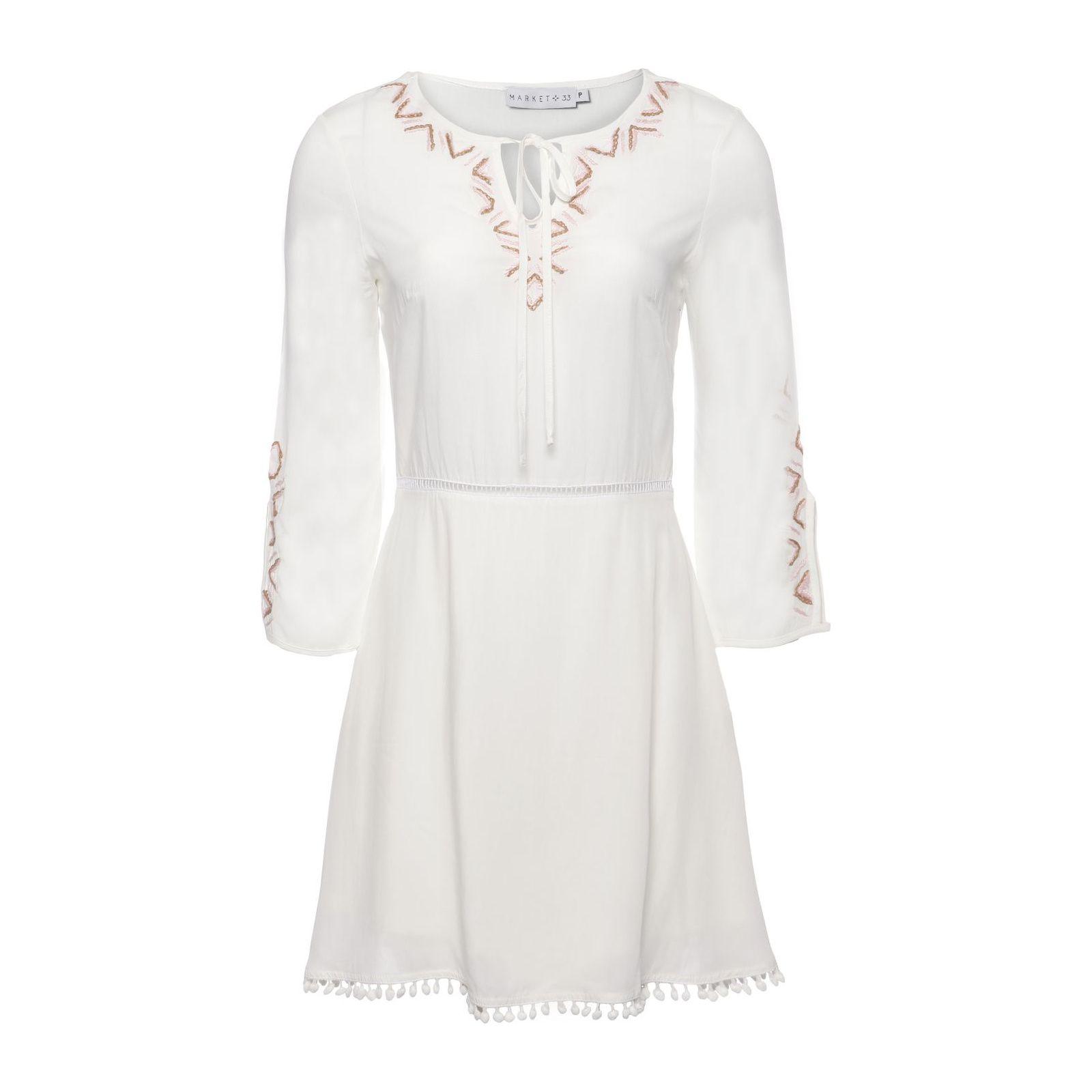 Vestido Curto Bordado - Off White