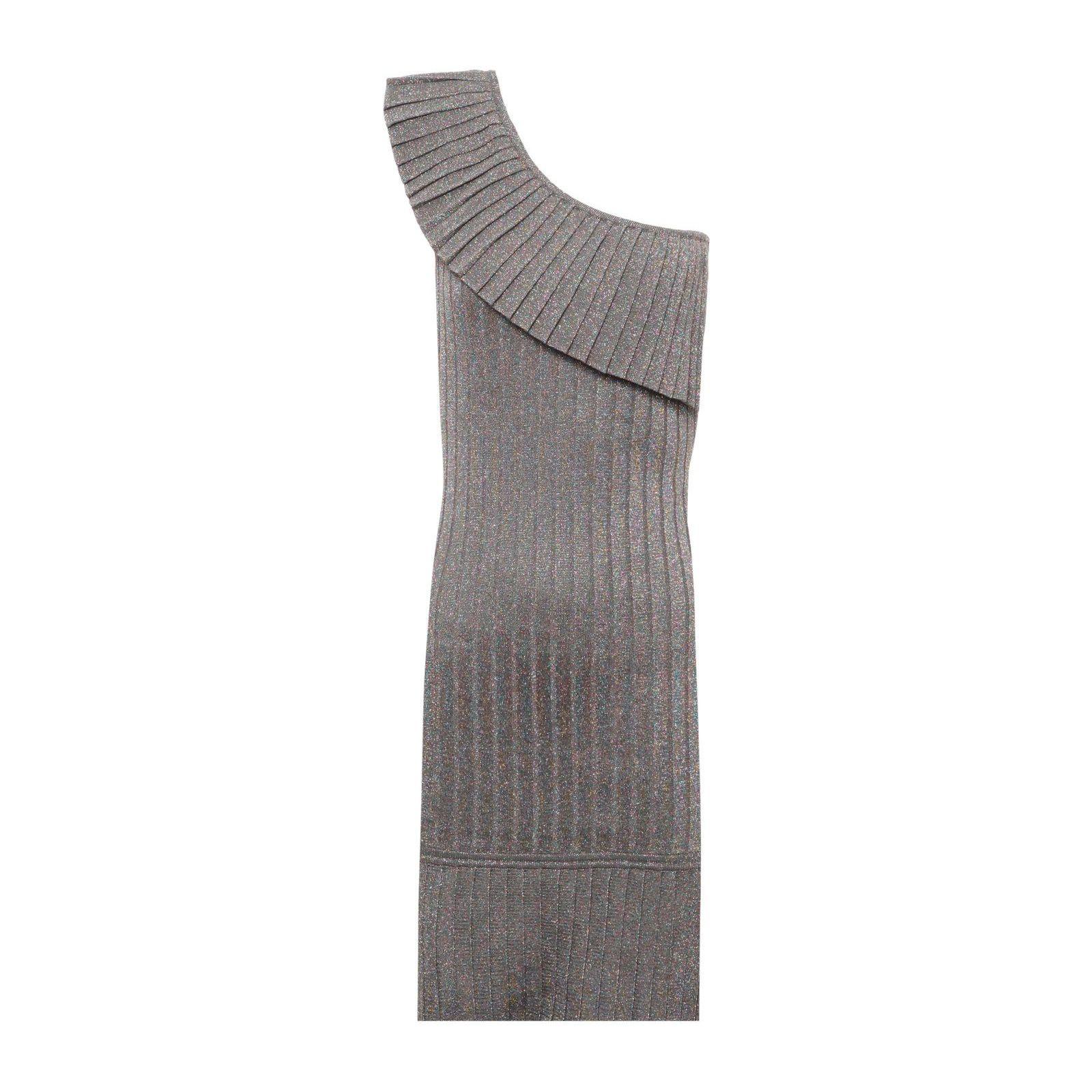 Vestido Curto Decote Plissado - Prata