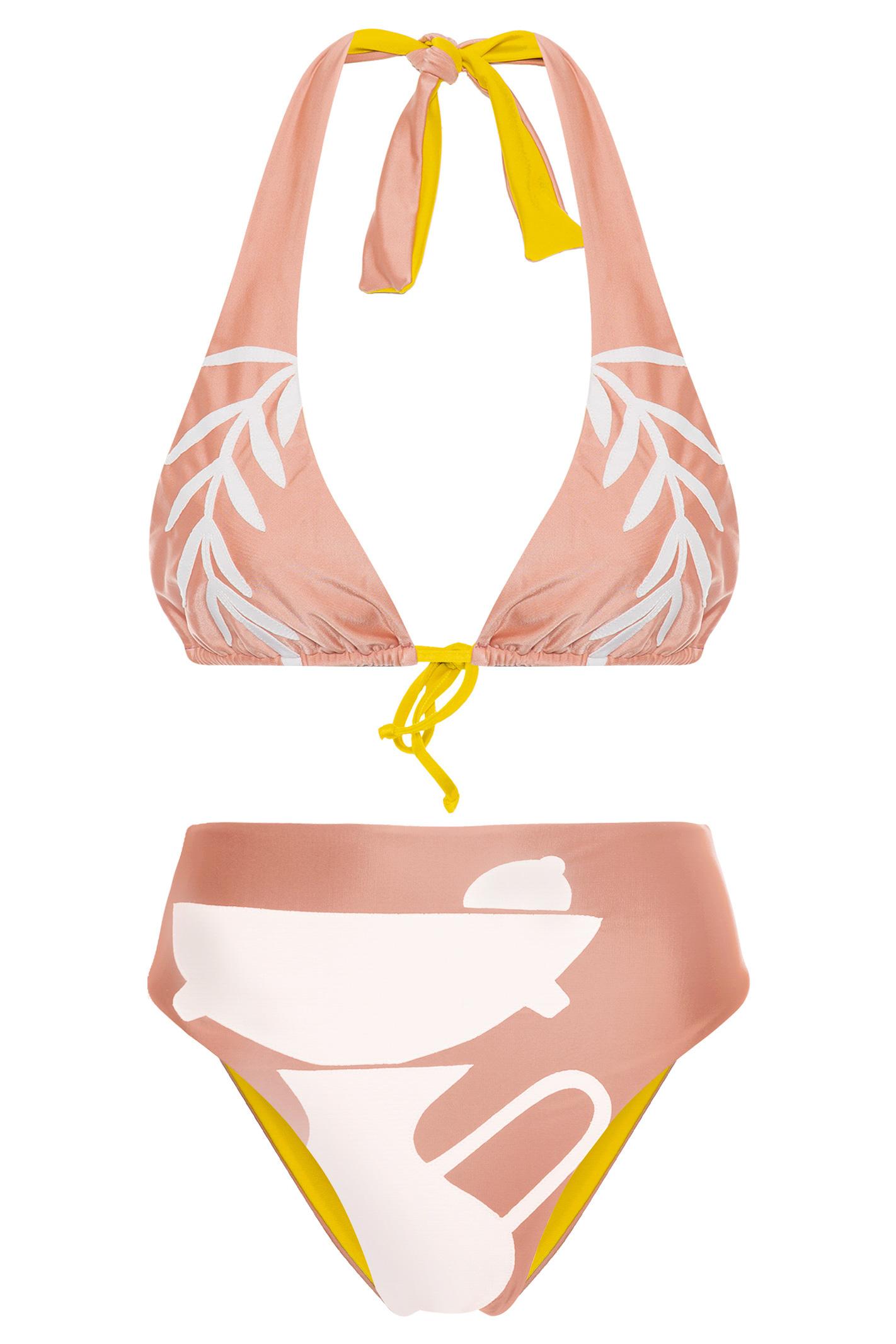 Biquini Hot Pant Cavada Bauhaus Avesso Amarelo - Nude