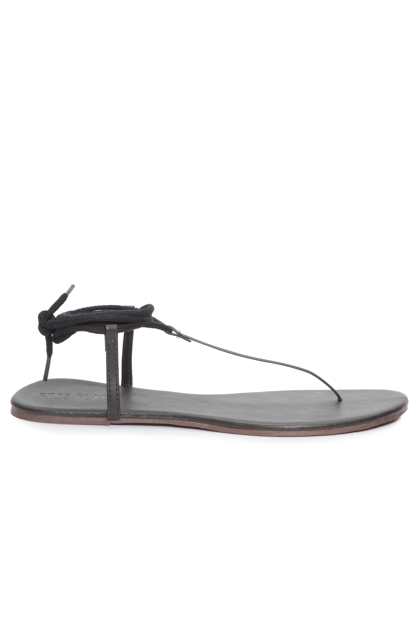 Sandália Rasteira T-Strap Lace Up Preta