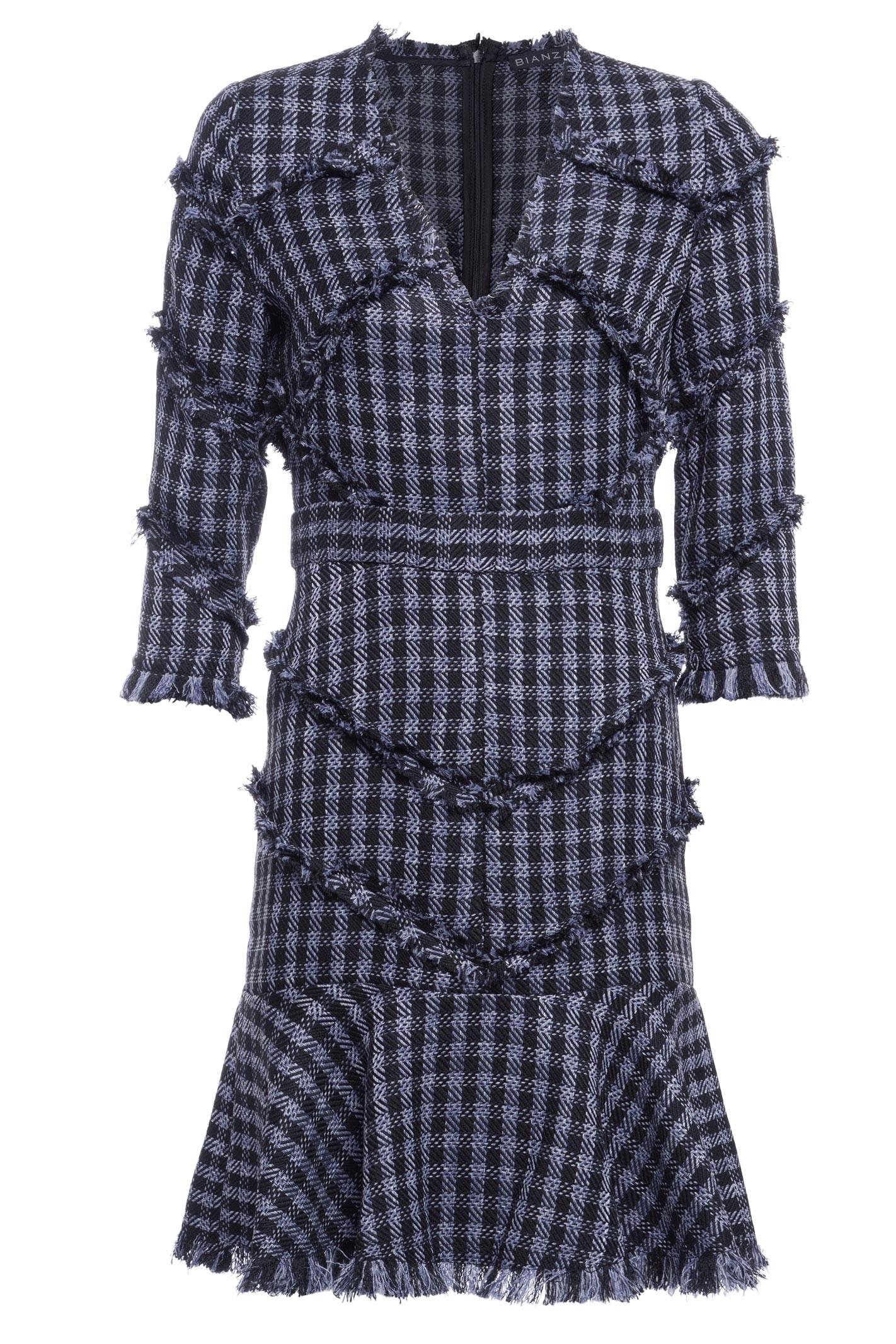 Vestido Tweed Fio Desfiado - Preto